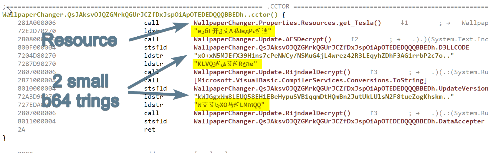 the method decrypting resource + strings
